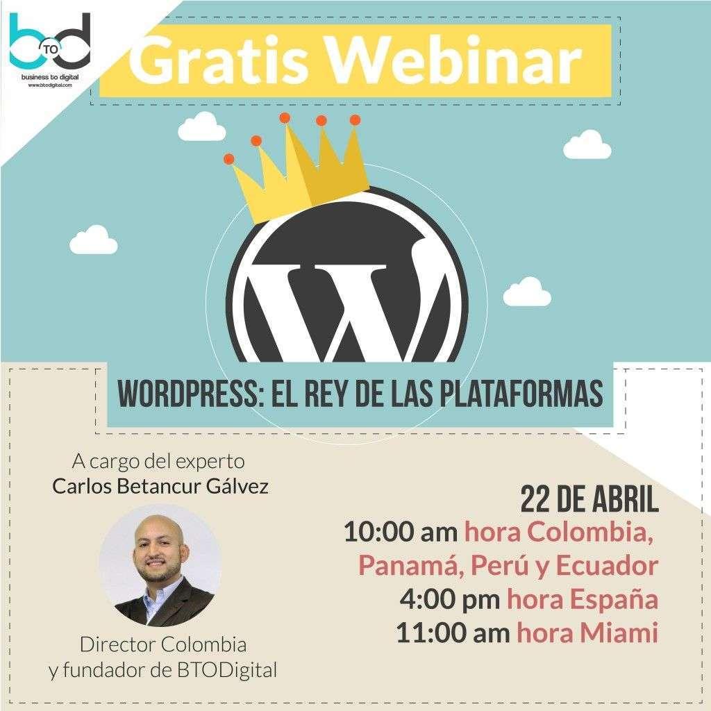 Webinar gratis: WordPress, el Rey de la plataformas